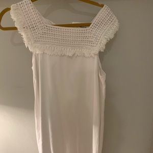 Madewell White Linen Embroidered Dress